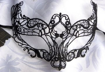 Genuine Venetian Burano Lace Black Mask (1a